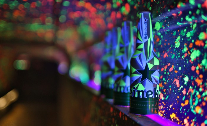 Club bottle under UV light setup
