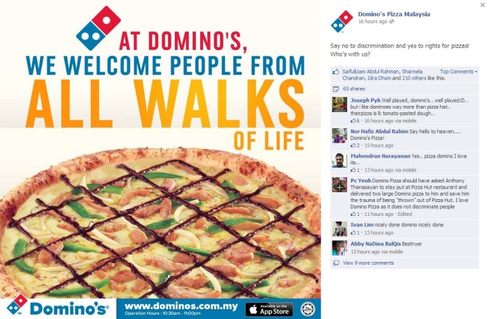 Domino's FB comment