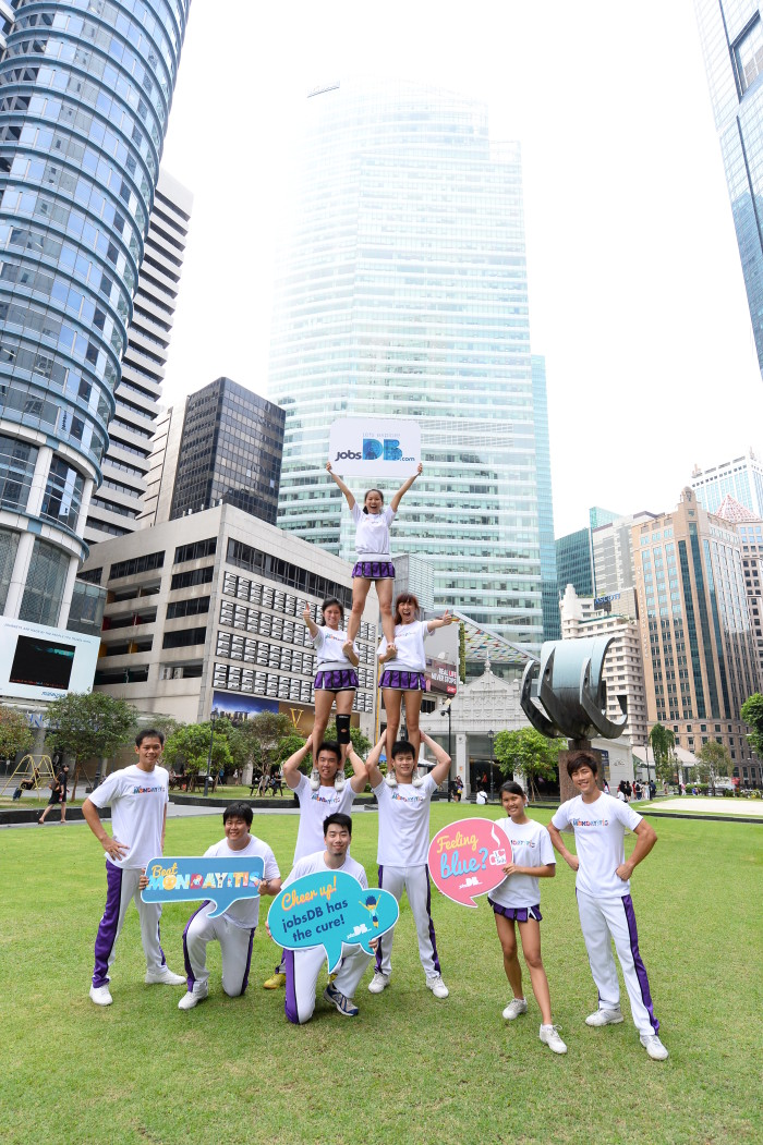 The jobsDB cheer squad brightens up Raffles Place to cure Mondayitis this morning