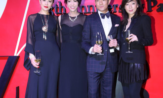 Carina Lau, DoDo Cheng, Aaron Kwok and Sandy Lam celebrating Harper's BAZAAR 25th anniversary.