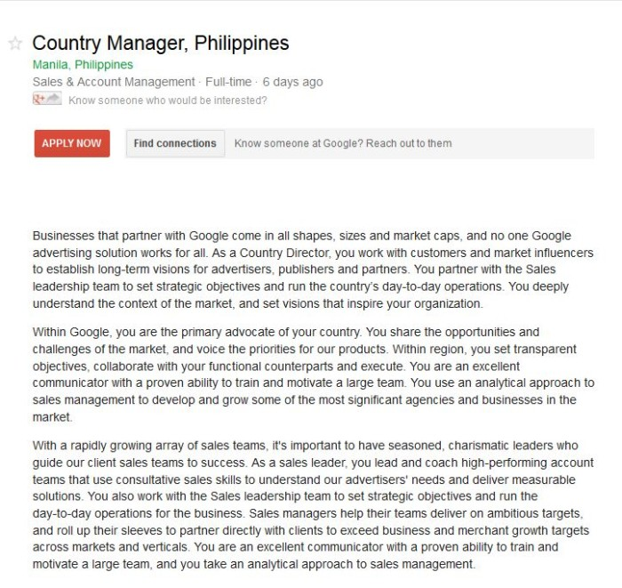 Google PH Country GM