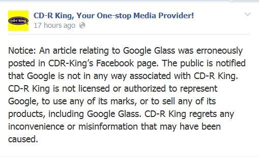 CD-R King Google Glass