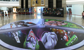 TS Batman Exh_2f illusion 3D art with villains