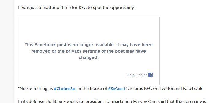 KFC Missing Facebook