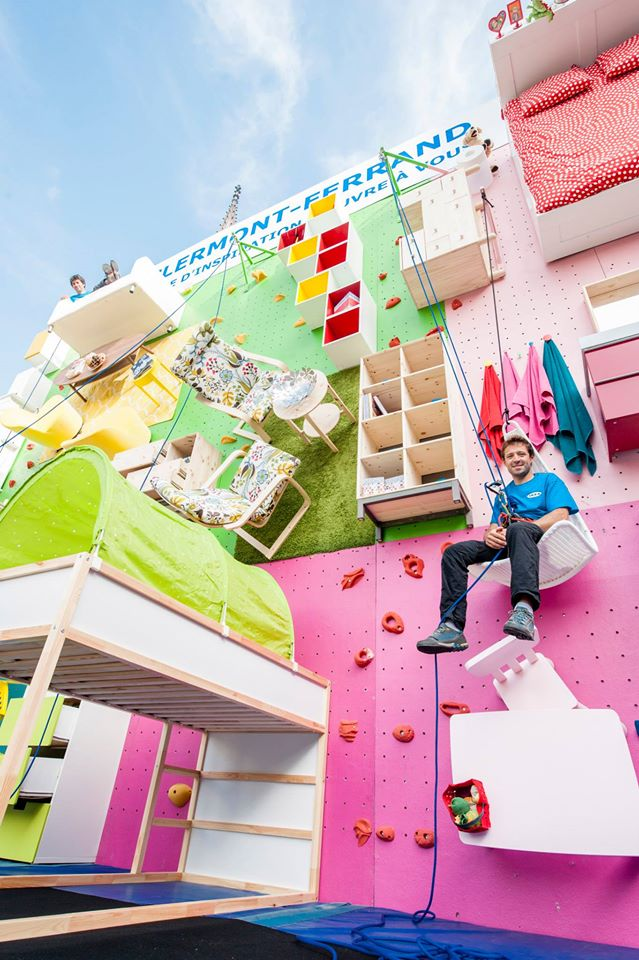 look ikea builds apartment into rock climbing wall marketing interactive. Black Bedroom Furniture Sets. Home Design Ideas