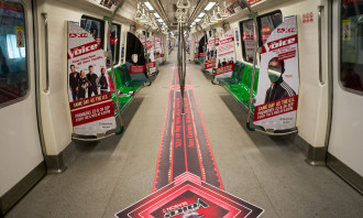 AXN The Voice themed MRT train cabin