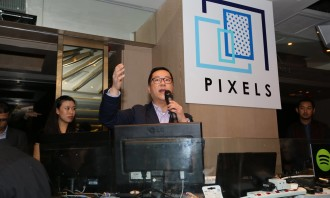 Pixels CEO Kevin Huang giving a speech during the party.