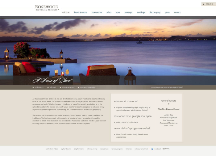 Rosewood Hotels and Resorts Old Homepage