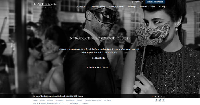 Rosewood Hotels and Resorts New Homepage