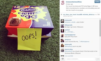 A box of Cadbury Creme eggs post by Innocent on Instagram.