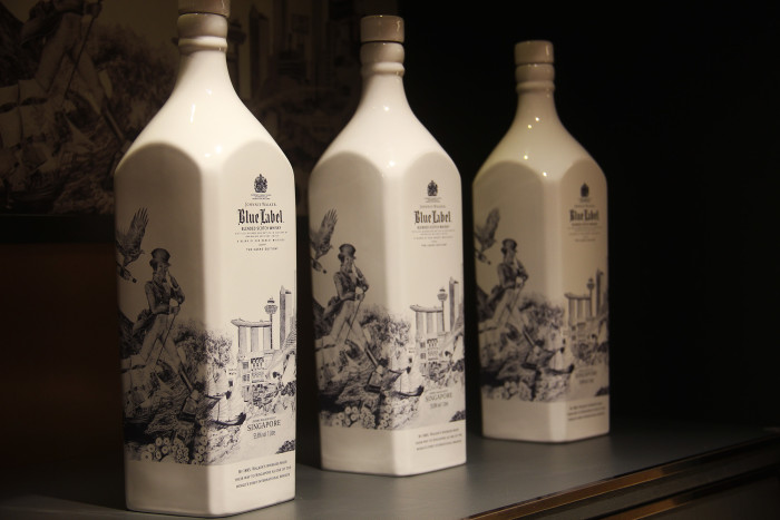 Limited edition JOHNNIE WALKER BLUE LABEL with the brand's hallmark Willow design exclusively for Singapore Changi Airport