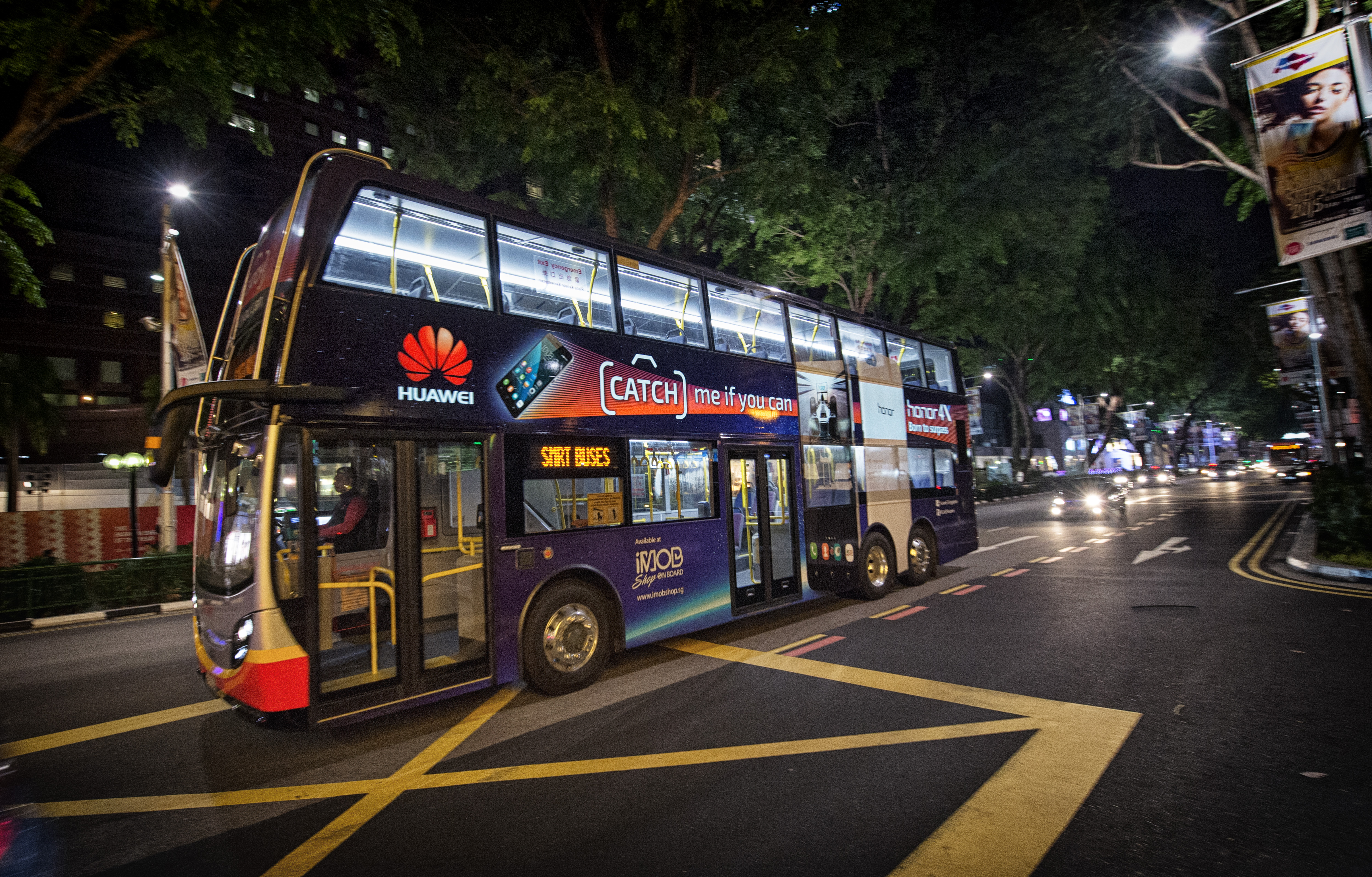 huawei gets on board smrt s brightly lit buses marketing interactive. Black Bedroom Furniture Sets. Home Design Ideas