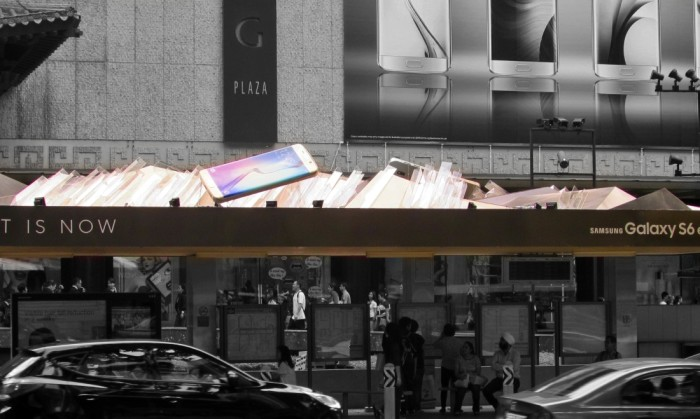 Samsung 3D Flagship at bus shelter outside Tangs