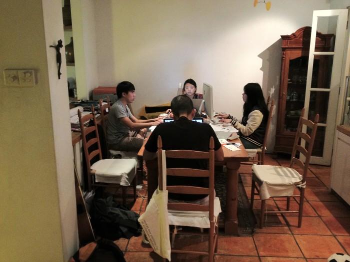 Goodfellas_Working aroud the dinning table. circa 2010