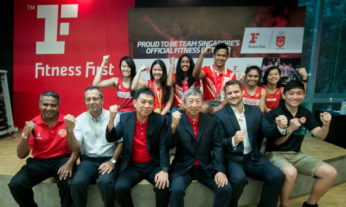 Members of the SNOC, Fitness First and the athletes mark the signing of the official partnership to benefit TeamSG