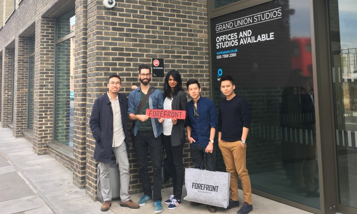 Forefronteers taking a photograph in front of their London premises located in Kensington (L-R) Darien Mah CEO  Adrien Saint Business Development A