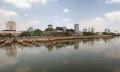 25989542 - straits of johor with johor bahru city waterfront skyline panorama