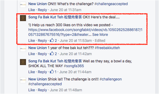 300 Likes for the video in exchange for Free Bak Kut Teh Everyday for 365 Days