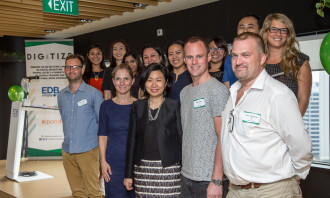 Joanna Flint, Country Director of Google Singapore, and Thien Kwee Eng, Assistant Managing Director of EDB, (front row, second and third from the left) along with partner agencies of the DIGITIZE program, which includes Airbnb, Amnet, Amobee, Carat, DAN, Dentsu Mobius Media, Hotels.com, iProspect, Omnicom Media Group, Performics and Publicis Media.""