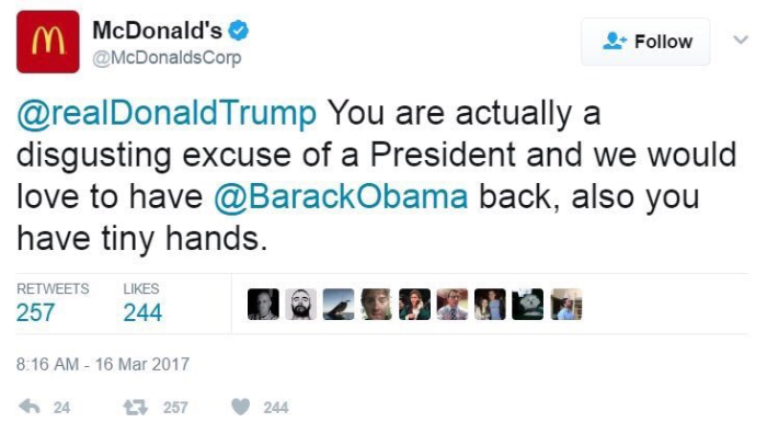 McDonalds Trump tweet Carrie