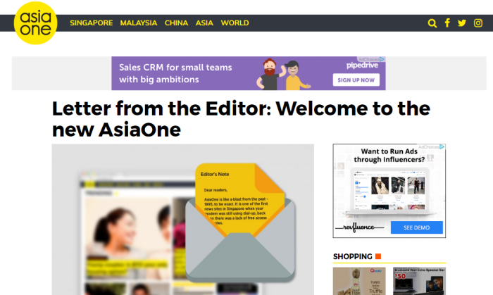 AsiaOne new website