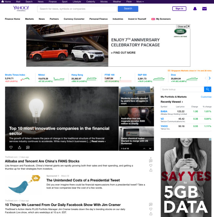 Yahoo revamps Homepage and Yahoo Finance websites | Marketing