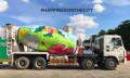 Pix 1-Lafarge Happiness in the City campaign colourful trucks-1