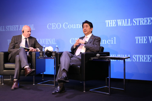 Japan Prime Minister Shinzo Abe on stage at WSJ CEO Council, Tokyo
