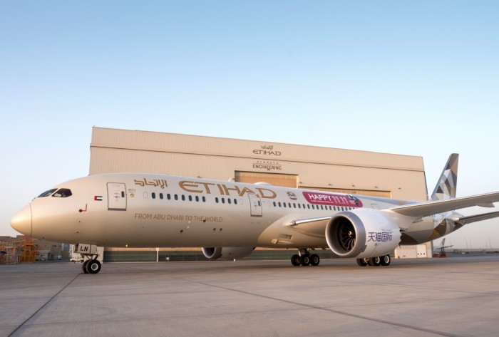 Etihad Airways' B787 Dreamliner with the Tmall 11.11 branding
