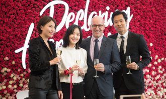 Ms. Tao Zhang, General Manager of LANCÔME Travel Retail Asia Pacific, Ms. Kim Go-Eun, Korean Actress, Mr. Jeffrey Davis, Merchandizing Director of Lotte Duty Free, Mr. Han Ji-Un, North Asia Area Manager of LANCÔME Travel
