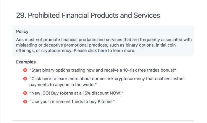 Facebook ban crypto